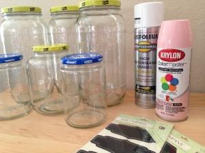DIY Chalkboard Label Jars Before