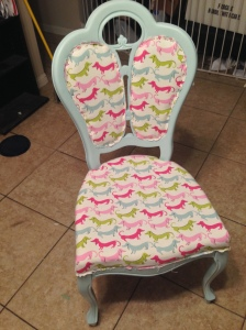 hot dog chair before trim