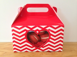 red velvet macarons packaged