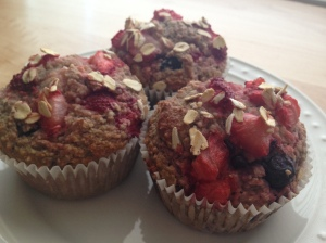 Mixed Berry Oat Muffins